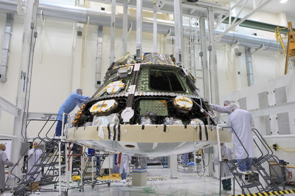 orion capsule installing heat shield