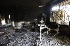 A picture shows the interior of the burnt US consulate building in the eastern Libyan city of Benghazi on September 13, 2012 following an attack on the building in which the U.S. ambassador to Libya and three other U.S. nationals were killed. Photo by Gianluigi Guercia/AFP/GettyImages