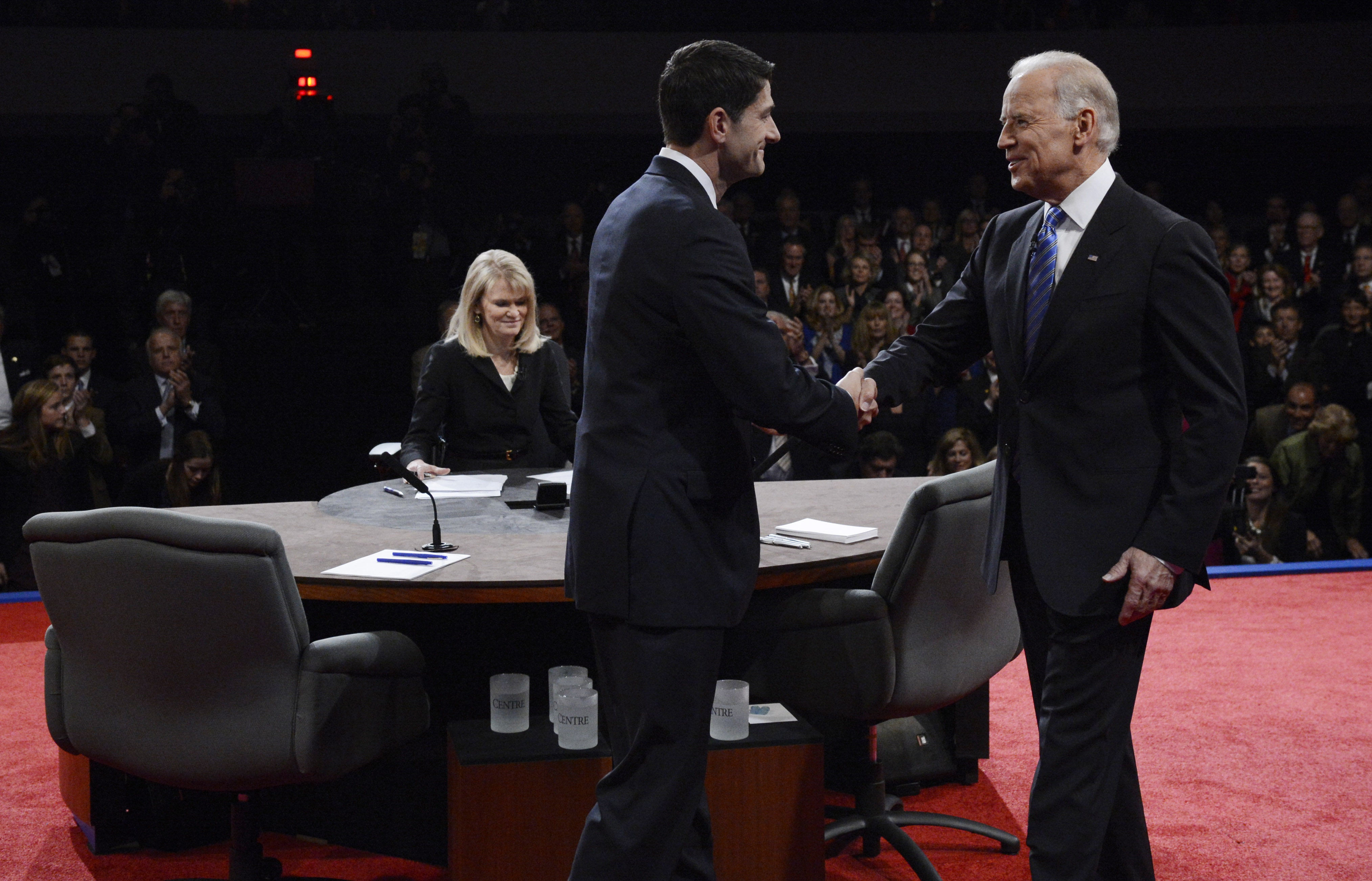 DANVILLE, KY - OCTOBER 11: Republican vice presidential candidate U.S. Rep. Paul Ryan (R-WI) (L) shakes hands with U.S. Vice President Joe Biden before the vice presidential debate at Centre College on October 11, 2012 in Danville, Kentucky. This is the second of four debates during the presidential election season and the only debate between the vice presidential candidates before the closely-contested election November 6. (Photo by Michael Reynolds-Pool/Getty Images)