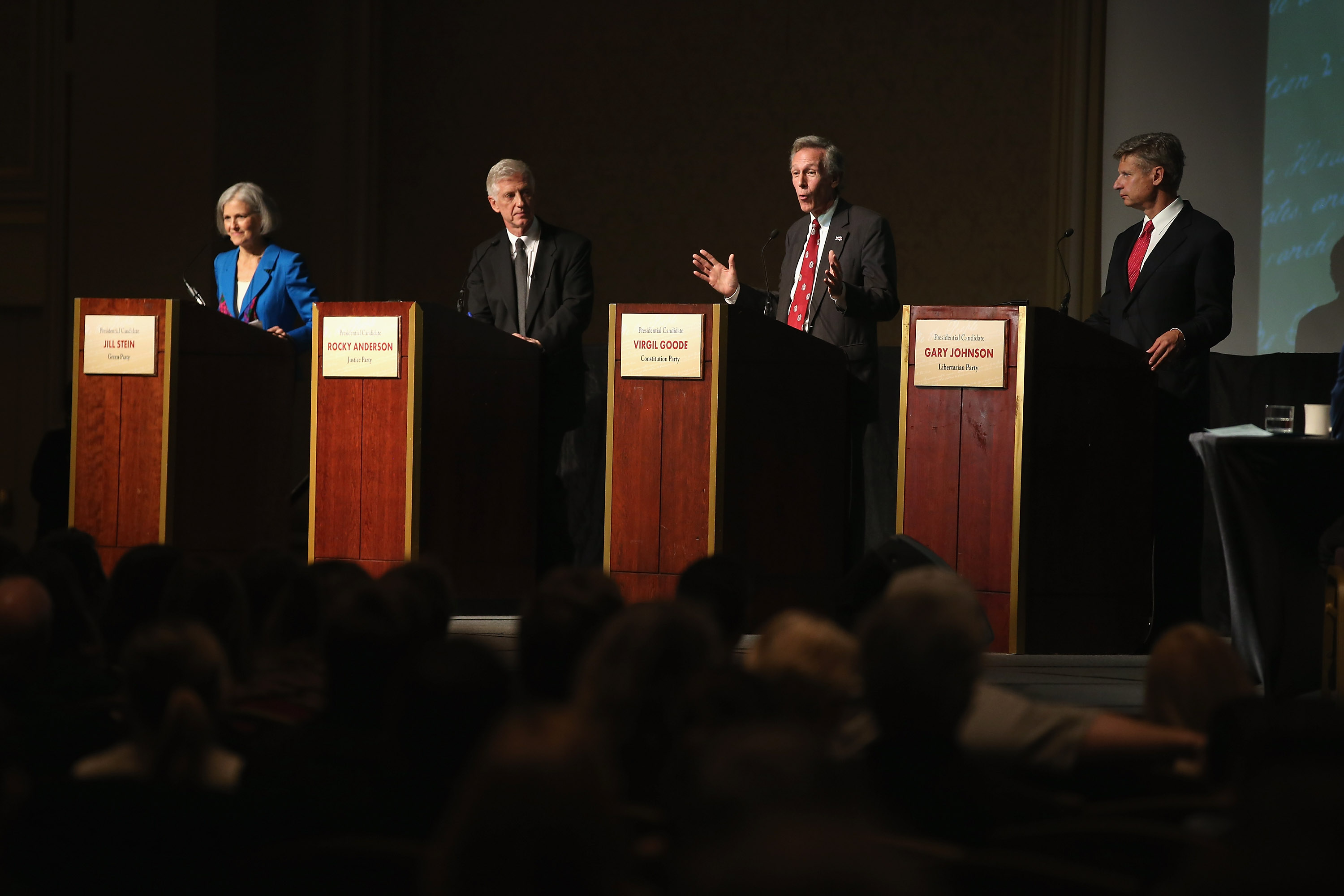 CHICAGO, IL - OCTOBER 23: Constitution Party presidential candidate Virgil Goode (2nd R) makes a point as Jill Stein (L) from the Green Party, Rocky Anderson (2nd L) from the Justice Party and Gary Johnson (R) from the Libertarian Party look on during a debate hosted by the Free and Equal Elections Foundation and moderated by former CNN talk-show host Larry King on October 23, 2012 in Chicago, Illinois. The 90-minute debate held at the Chicago Hilton hotel featured presidential candidates from the Green Party, Libertarian Party, Constitution Party and Justice Party. (Photo by Scott Olson/Getty Images)