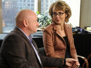 Former Congresswoman Gabrielle Giffords, who was critically injured six years ago when a gunman opened fired in Tucson, Arizona, and her husband, retired astronaut Mark Kelly talk to Diane Sawyer about the need for changes in gun control laws and greater awareness of mental health issues in 2013 in New York City. Photo by Ida Mae Astute/ABC via Getty Images