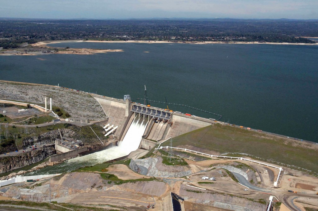 Aerial view at Folsom Lake & dam, showing full of water. Shot 4/5/11.