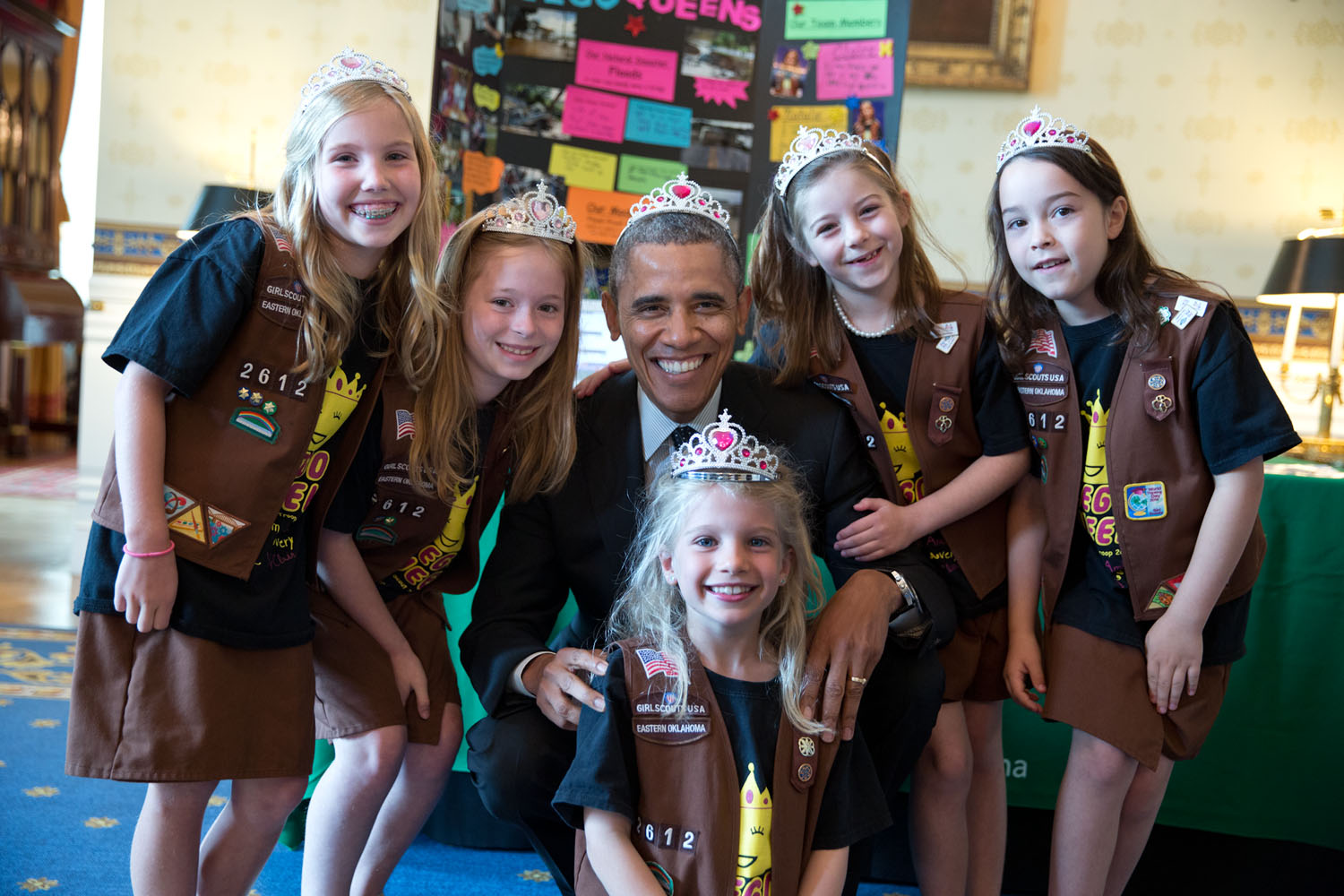 The president poses with Avery Dodson, Natalie Hurley, Miriam Schaffer, Claire Winton and Lucy Claire Sharp, members of Girl Scout Troop 2612 in Tulsa, Oklahoma at the White House science fair. The fair celebrated the student winners of a broad range of science, technology, engineering and math (STEM) competitions from across the country. Official White House photo by Pete Souza.