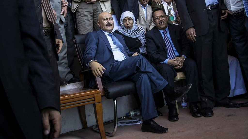 """Less than two weeks after the UN threatened him with sanctions because of fears he was meddling in Yemen's transitional process, ousted President Ali Abdullah Saleh held a large gathering in Sanaa. With thousands of his supporters in attendance, he called for """"reconciliation, shaking hands and forgiveness of the past to build a new Yemen"""". Meanwhile, at the massive Sanaa mosque which bears his name, a museum focused on Mr Saleh's political career has been opened. Photo by Luke Somers/courtesy of BBC"""