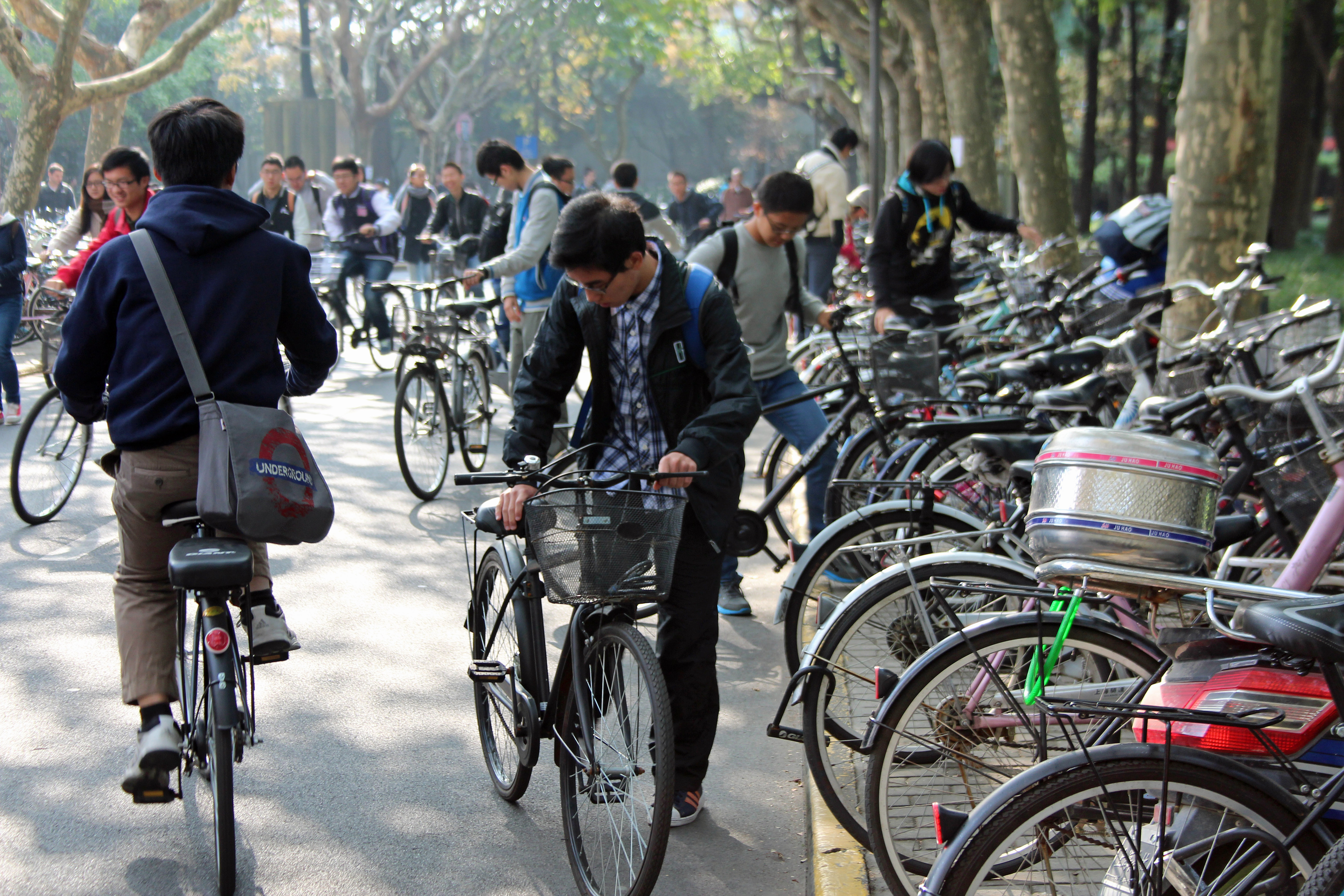 Bicycles cover the grounds at Fudan University in Shanghai. Photo by Larisa Epatko/PBS NewsHour