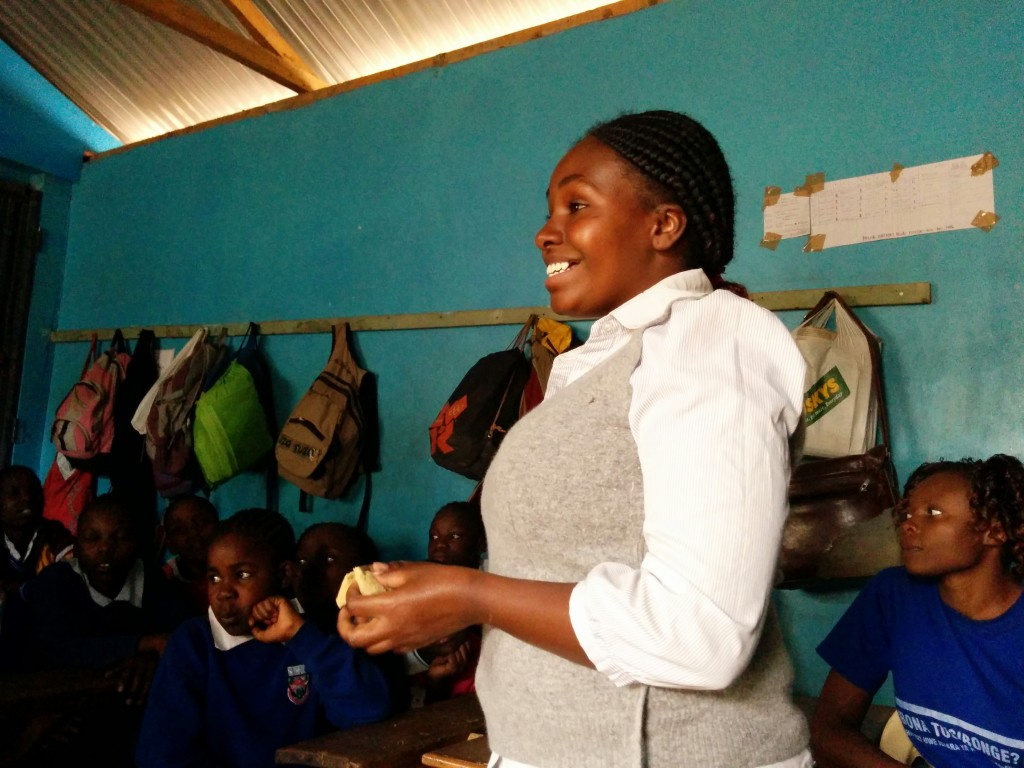 Ann Kamau is a mentor for the young girls in the program. As a young woman who is married and also a mother, the guardians and community leaders trust her as a role model and someone the girls can talk to about subjects that would otherwise be taboo.