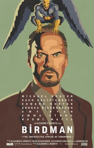 """Birdman"" received eight nominations, including best picture, best actor (Michael Keaton) and best actress in a supporting role (Emma Stone). Poster courtesy Fox Searchlight."