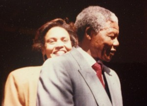 In this 1990 file photo, Hunter-Gault is seen with Mandela shortly after he was released from prison.
