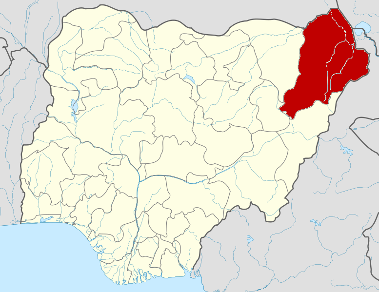 "Borno State is one of 36 states in Nigeria. Boko Haram controls approximately 70 percent of the area. ""Nigeria Borno State map"" by Himalayan Explorer based on work by Uwe Dedering."