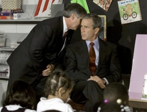 U.S. President George W. Bush listens as White House Chief of Staff Andrew Card informs him of a second plane hitting the World Trade Center while Bush was conducting a reading seminar at the Emma E. Booker Elementary School in Sarasota, Florida in this September 11, 2001 file photo. Al Qaeda leader Osama bin Laden was killed in a mansion outside the Pakistani capital Islamabad, a U.S. source said on Sunday. Photo by Win McNamee/Reuters