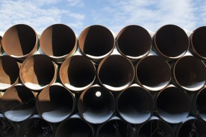 A depot used to store pipes for Transcanada Corp's planned Keystone XL oil pipeline is seen in Gascoyne, North Dakota
