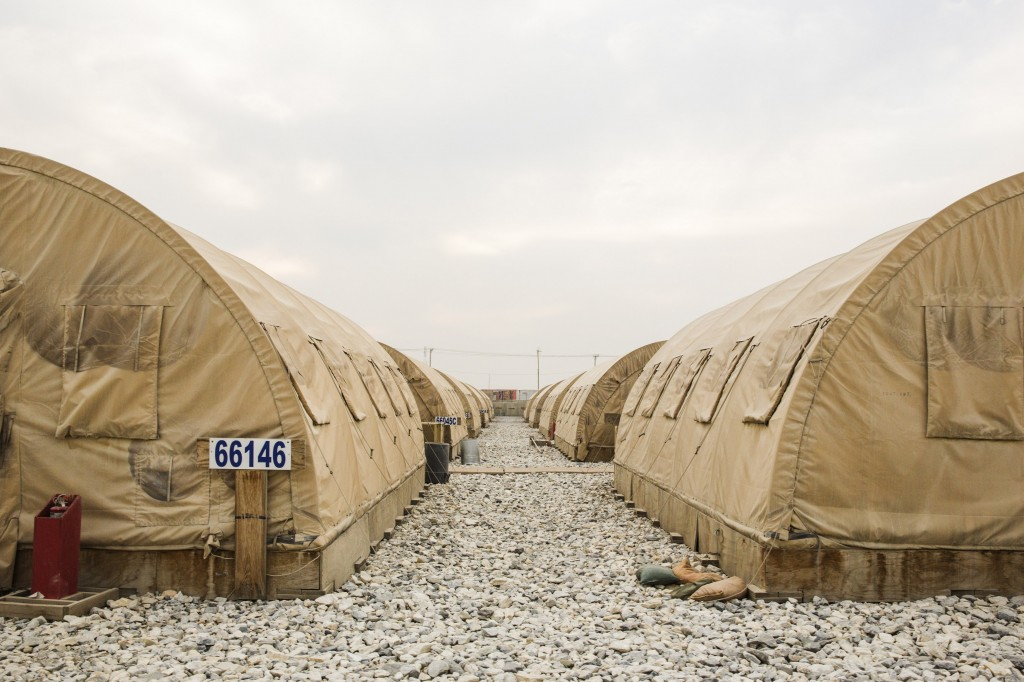 Tents stand waiting to be dismantled as part of areas being cleared in order to shrink the massive Bagram Air Field in the Parwan province of Afghanistan on Jan. 2, 2015. Photo by Lucas Jackson/Reuters