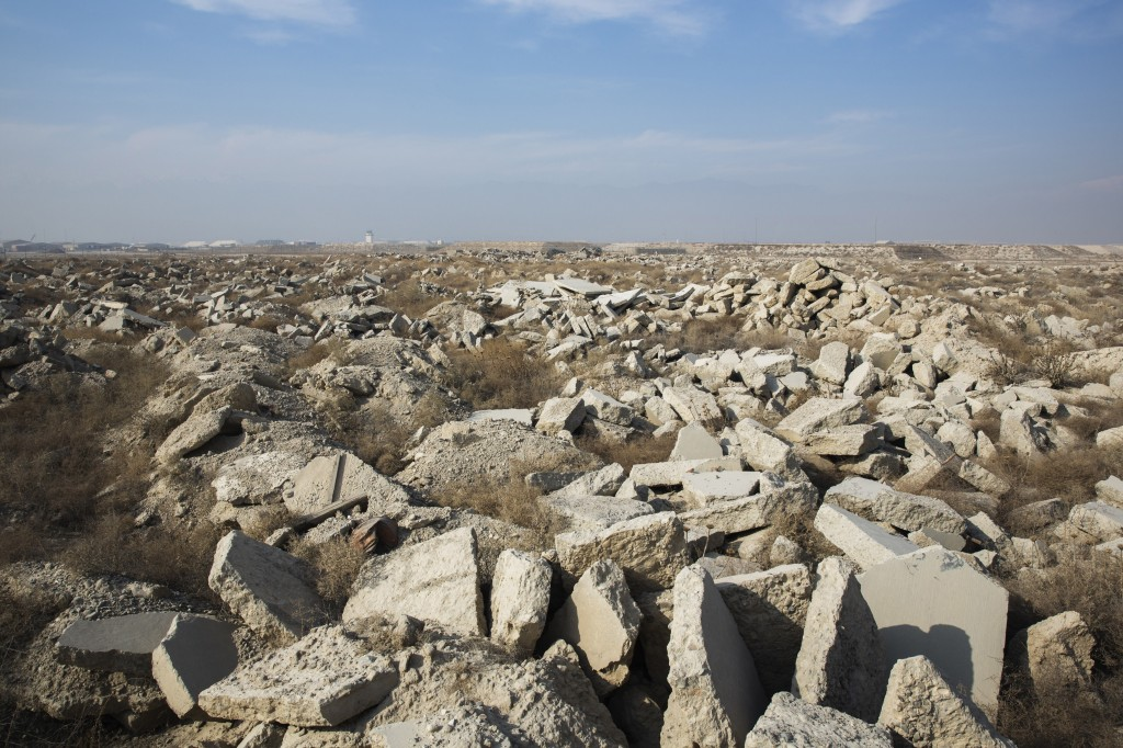 A massive field of demolished concrete lies inside of Bagram Air Field in the Parwan province of Afghanistan Jan. 2, 2015. Photo by Lucas Jackson/Reuters