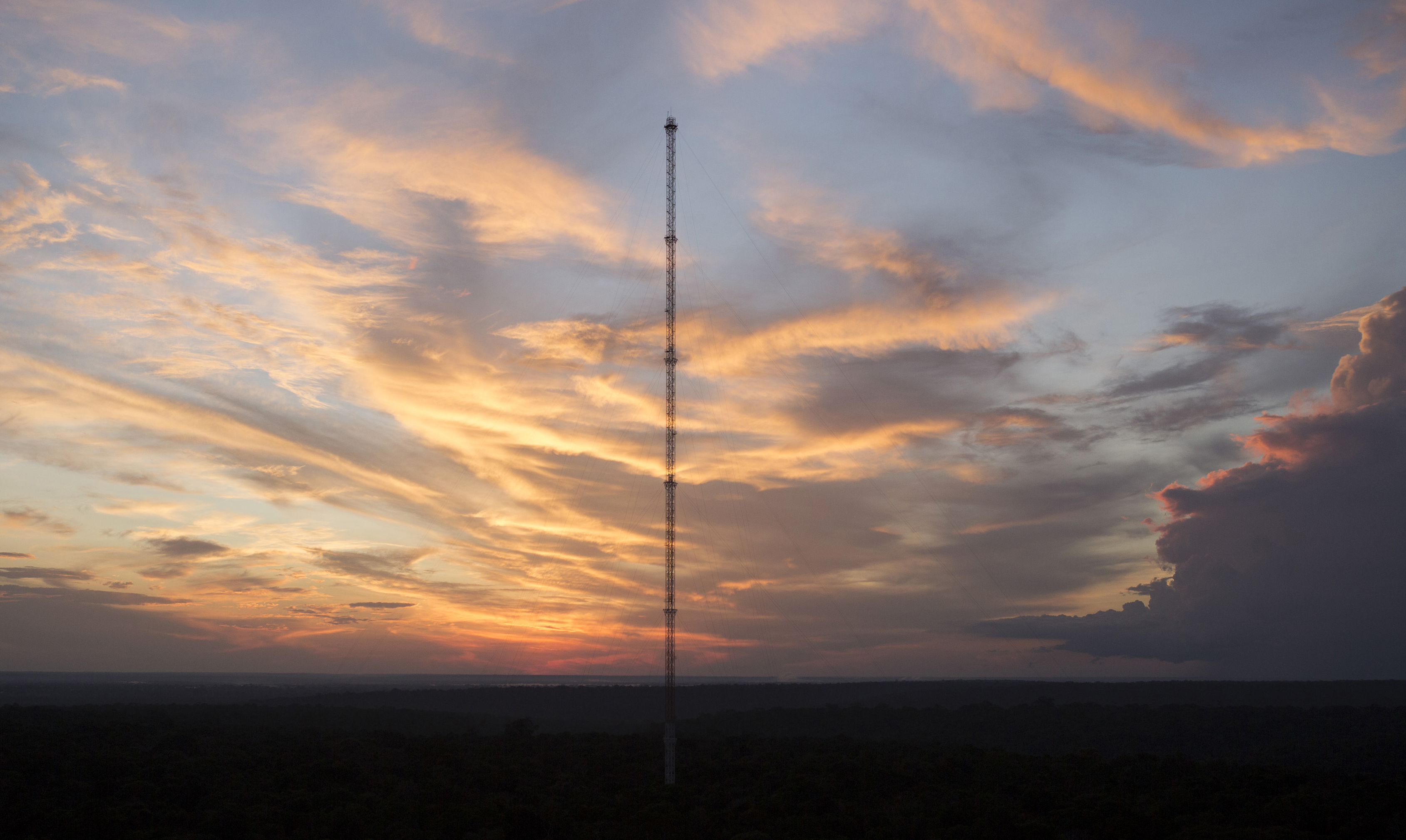 The Amazon Tall Tower Observatory (ATTO) is pictured during a sunset in Sao Sebastiao do Uatuma in the middle of the Amazon forest in Amazonas state January 8, 2015. Photo by Bruno Kelly/Reuters