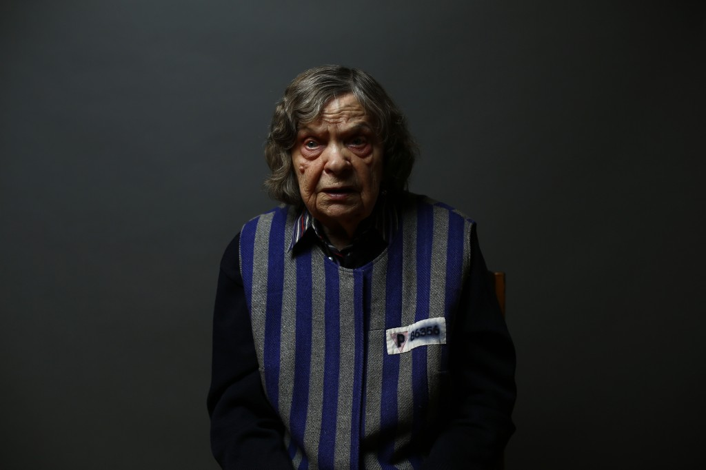 Auschwitz concentration camp survivor Jadwiga Bogucka poses for a portrait in Warsaw