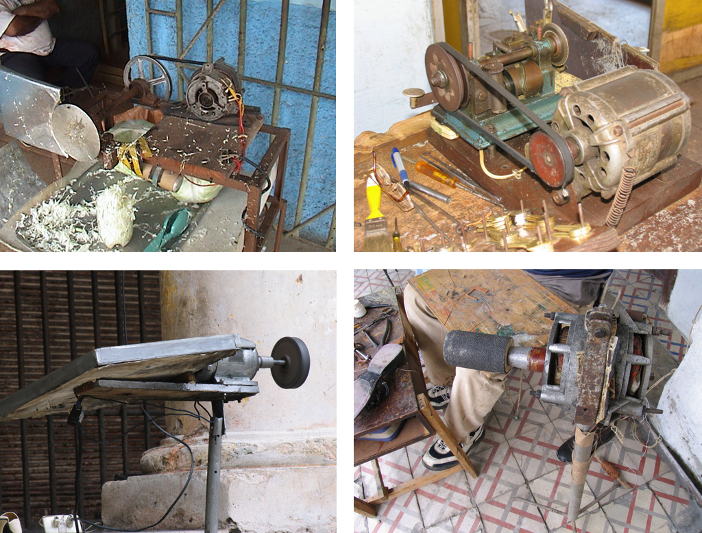 The electric motor from the widely-owned Soviet Aurika clothes dryer is a popular device for Cuban inventors. Clockwise from left, in the photos above, the motors have been repurposed as coconut shredder, a key duplicator, a grinding wheel, and a shoe repair tool. Photos by Ernesto Oroza