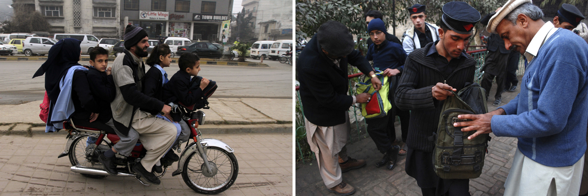 LEFT: Children ride on a motorcycle with their parent while heading to their school after it reopened in Rawalpindi. Photo by Faisal Mahmood/Reuters RIGHT: Students get their bags checked by school security staff at a school after it reopened in Peshawar January 12, 2015. Photo by Khuram Parvez/Reuters