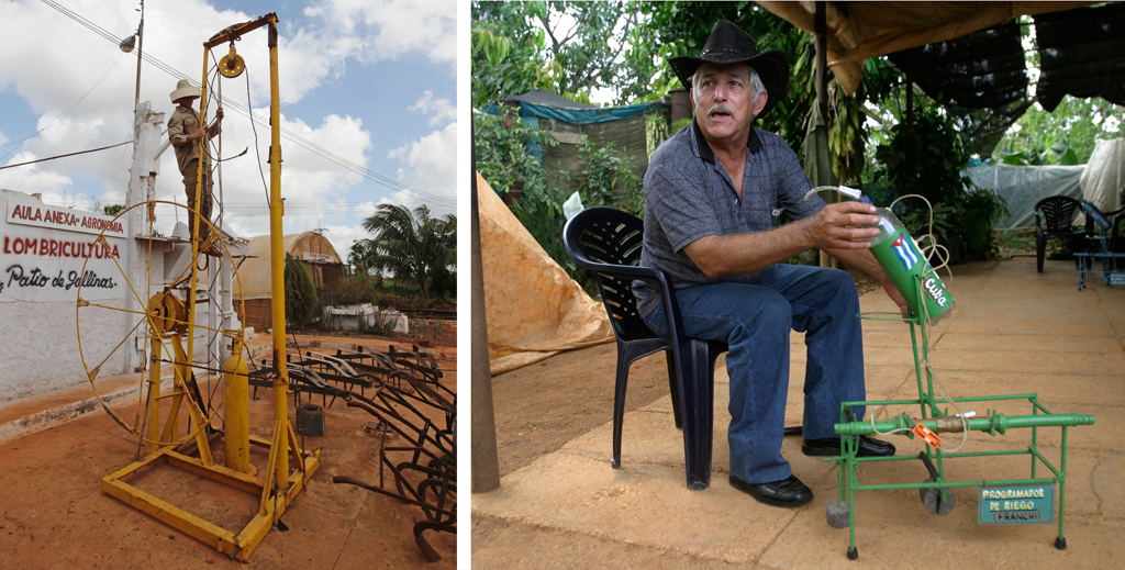 LEFT: Cuban inventor Yolando Perez Baez demonstrates his engine-starting device that can work in the place of a starter motor -- a component that frequently fails.  A large weight is hoisted up and dropped to spin a flywheel to start motors around the farm. Photo by Desmond Boylan/Reuters RIGHT: Farmer Carlos Frachi invented a crop irrigation system using soda bottles. Photo by Enrique De La Osa/Reuters