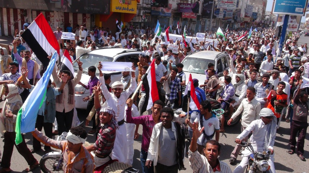 Demonstrators protest against the Houthis's involvement in country policy in Al Hudaydah, a city in western Yemen. Photo b...