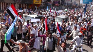 Demonstrators protest against the Houthis's involvement in country policy in Al Hudaydah, a city in western Yemen. Photo by Stringer/Anadolu Agency/Getty Images