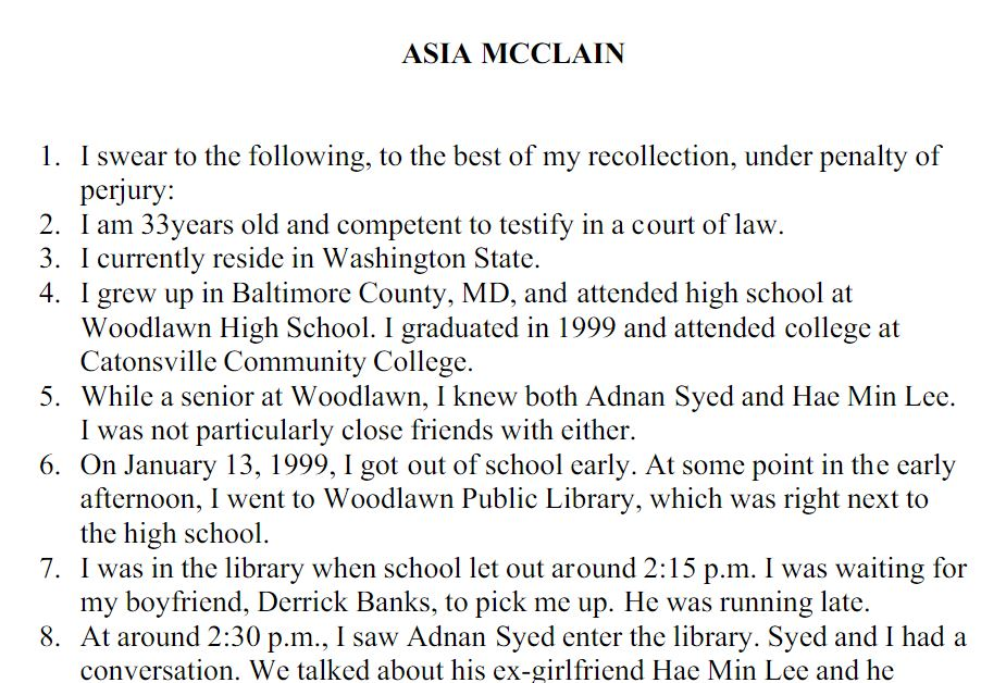 A key witness in the trial of Adnan Syed has provided a second affidavit to The Blaze.