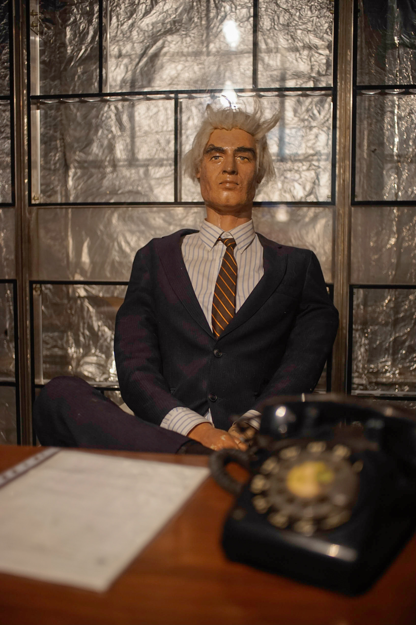 This mannequin is supposed to represent Ambassador William Sullivan, who headed the U.S. diplomatic mission in Iran during the late 1970s. Sullivan wasn't among the captured hostages; he was back in the United States the day the embassy was seized.
