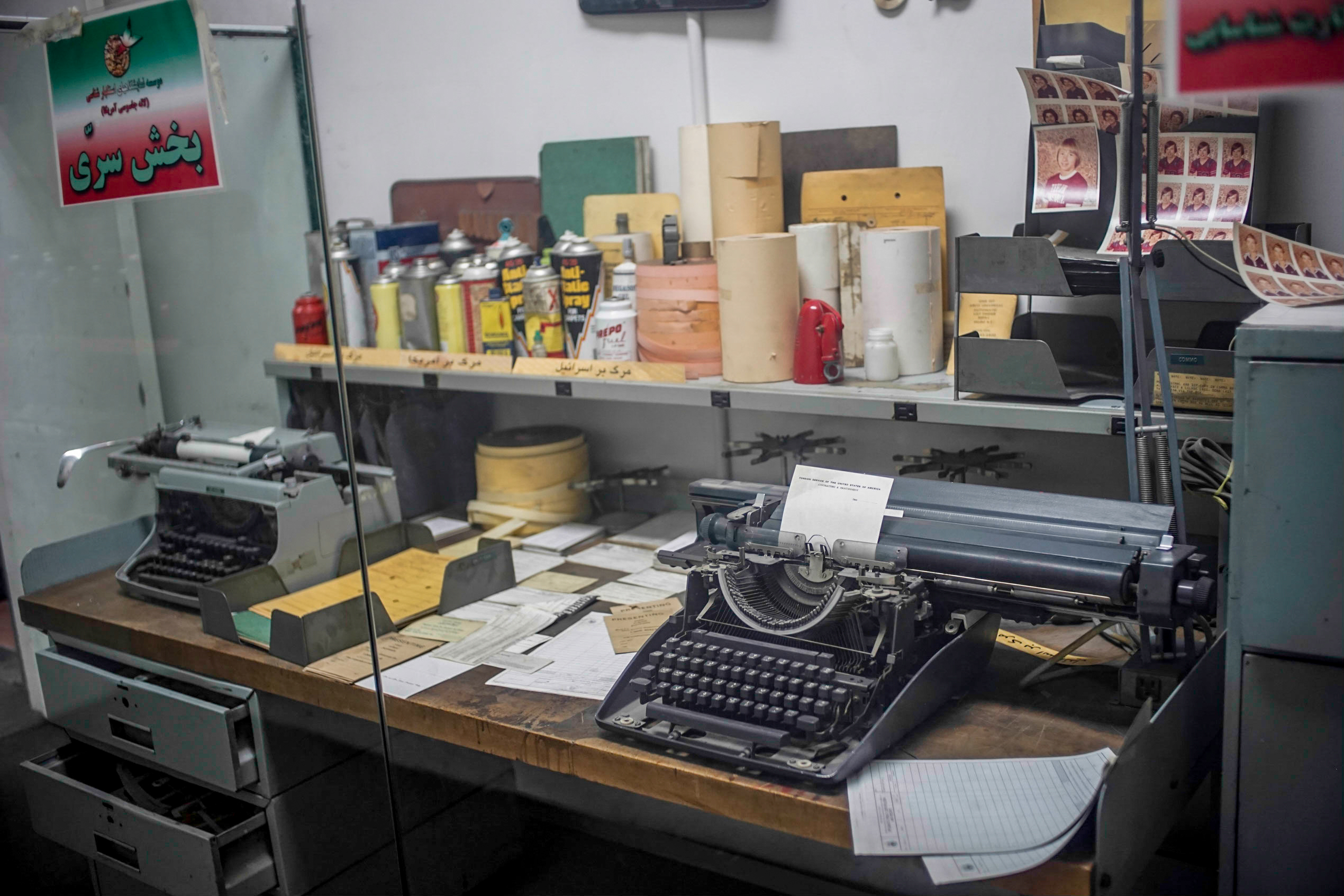 A display case showing what the museum claims was allegedly a desk of tools and equipment for making counterfeit documents and passports for its spies.  As with virtually all the items on display inside and outside the museum, it's impossible to verify their authenticity.