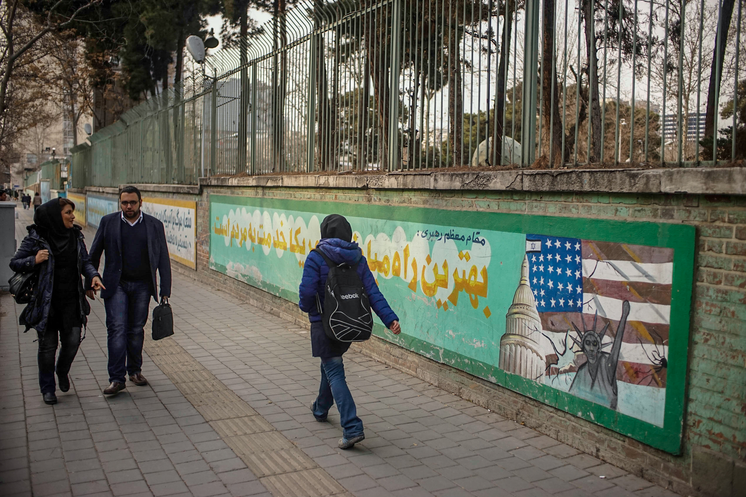 Exterior wall of the former U.S. embassy compound in Tehran, covered with anti-American graffiti. While most Iranians pass by the massive compound and pay it no interest, the Iranian government stages anti-American protests here on the anniversary of the 1979 takeover. While there's an undeniable strain of anti-Americanism in parts of Iranian society, these kinds of displays were rare, and stood in contrast to the kindness and curiosity from most of the Iranians we met.