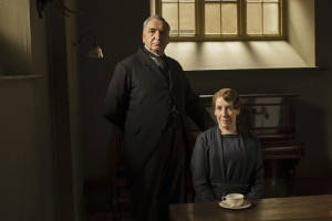 To the frustration of  Downton Abbey's housekeeper, Mrs. Hughes, Mrs. Patmore asks the butler, Mr. Carson, for investment advice. Photo courtesy of PBS.
