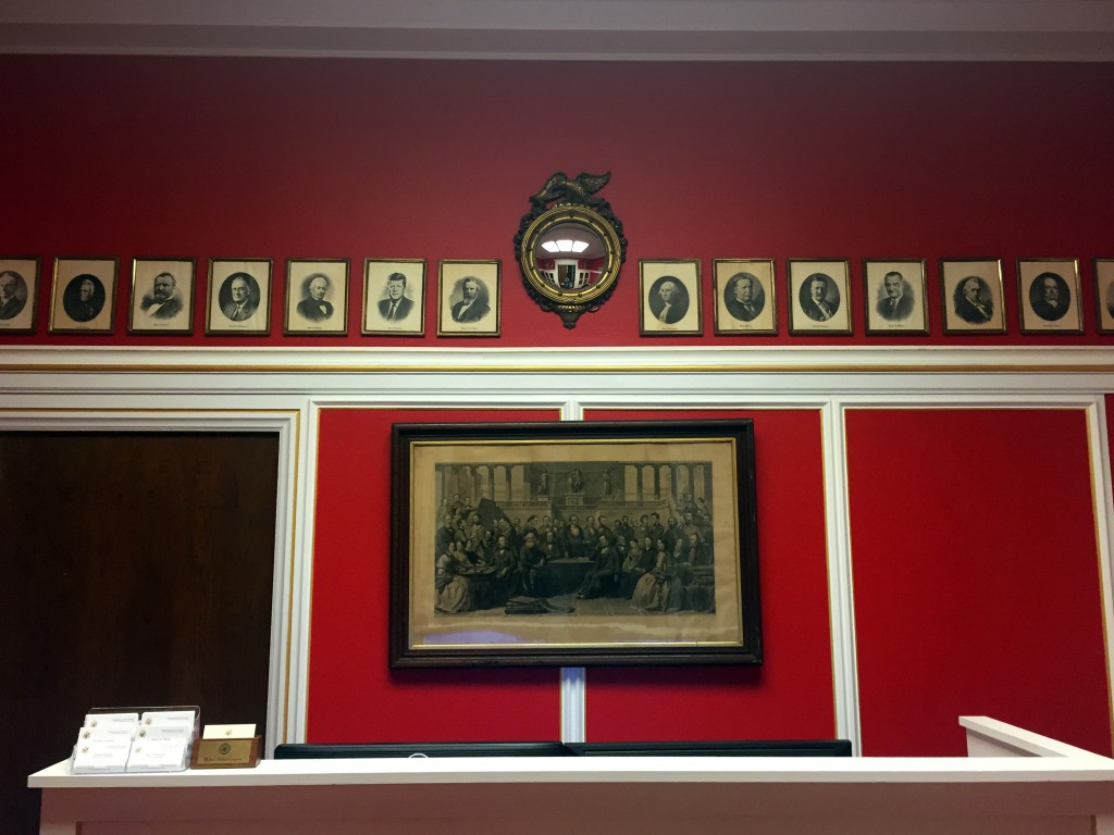 """WASHINGTON, DC - JANUARY 30: Photos of Rep. Aaron Schock's (R-IL) new office in the Rayburn Office Building, which was designed to resemble the dining room of the PBS show """"Downton Abbey,"""" on January 30, 2015 in Washington, DC. The interior decorator owns a company called Euro Trash LLC. (Photo by Ben Terris/The Washington Post via Getty Images)"""