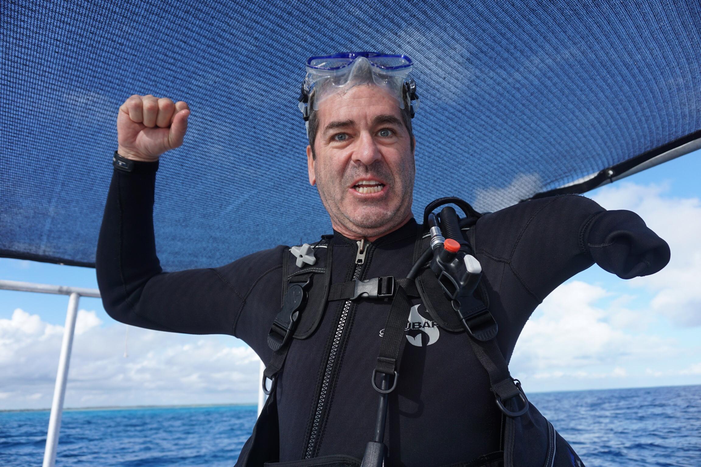 Scuba diving  off Andros Island, the Bahamas in January. Photo by Suzi Tobias