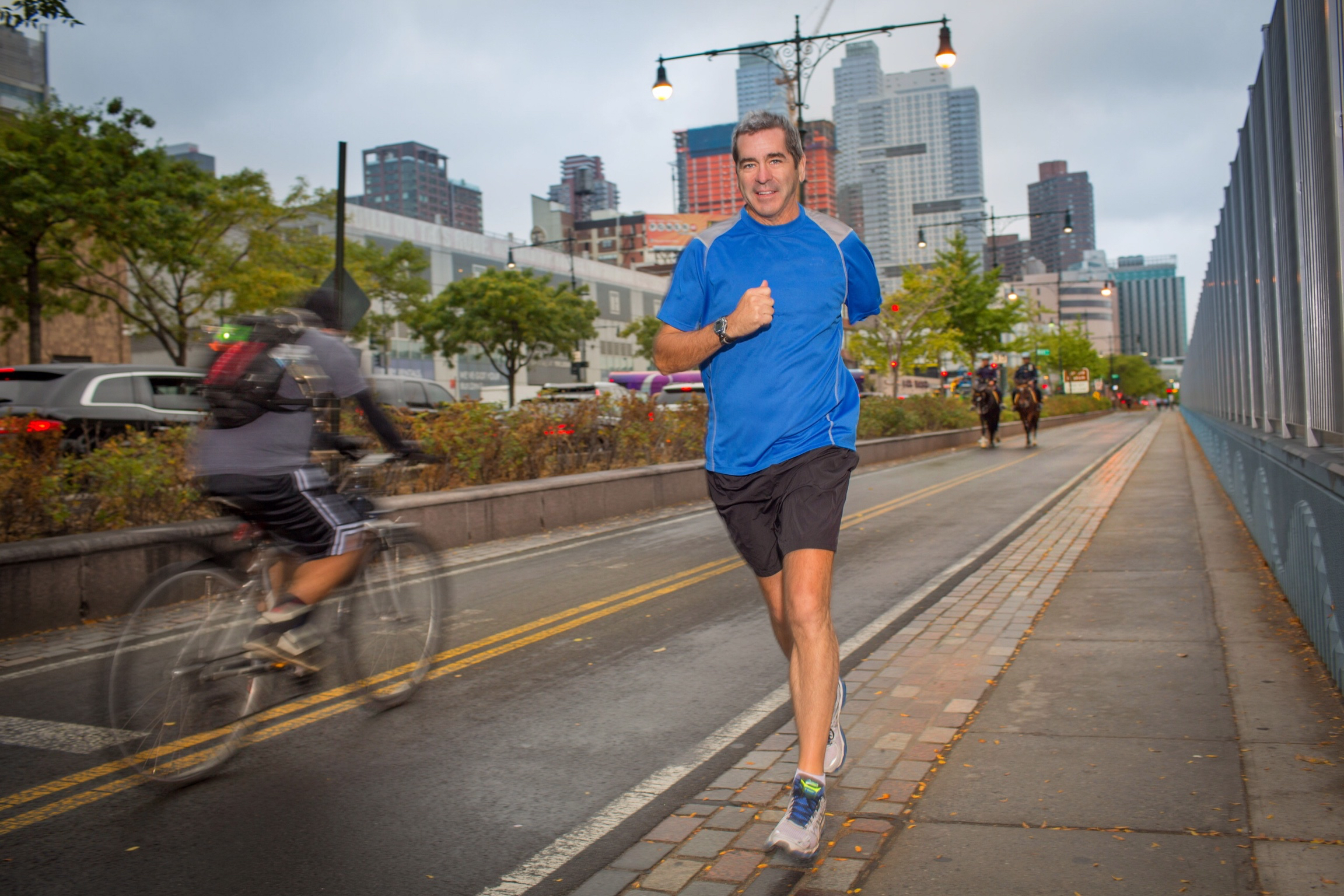 Running along the West Side Highway in Manhattan in September. Photo by Sandra Young