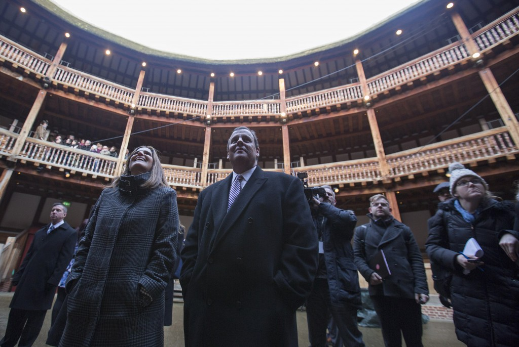 New Jersey Governor Chris Christie and his wife Mary Pat Christie watch a rehearsal of Henry V at the Globe Theatre in London Tuesday. Photo by Neil Hall/Reuters