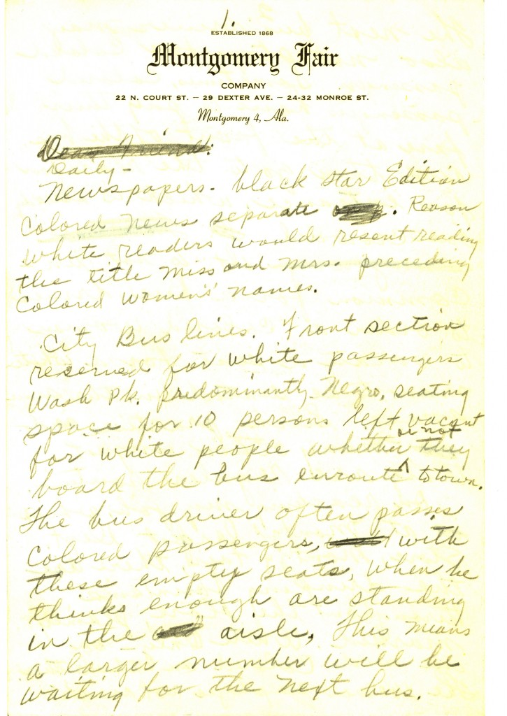 Draft letter written by Parks in January 1956, describing racial segregation in Montgomery, Alabama. Written on Montgomery Fair department store stationery. Parks was let go from her job as an assistant tailor at the store that month. Photo courtesy of Rosa Parks Papers, Manuscript Division, Library of Congress