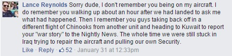 On Facebook, a couple of commenters challenged Brian Williams' oft-repeated Iraq War story.