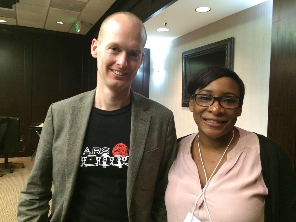 Mars One candidate Kenya Armbrister met up with co-founder Bas Lansdorp at the Mars Society Conference in League City, Texas. Photo was taken August 2014. Photo courtesy of Kenya Armbrister.