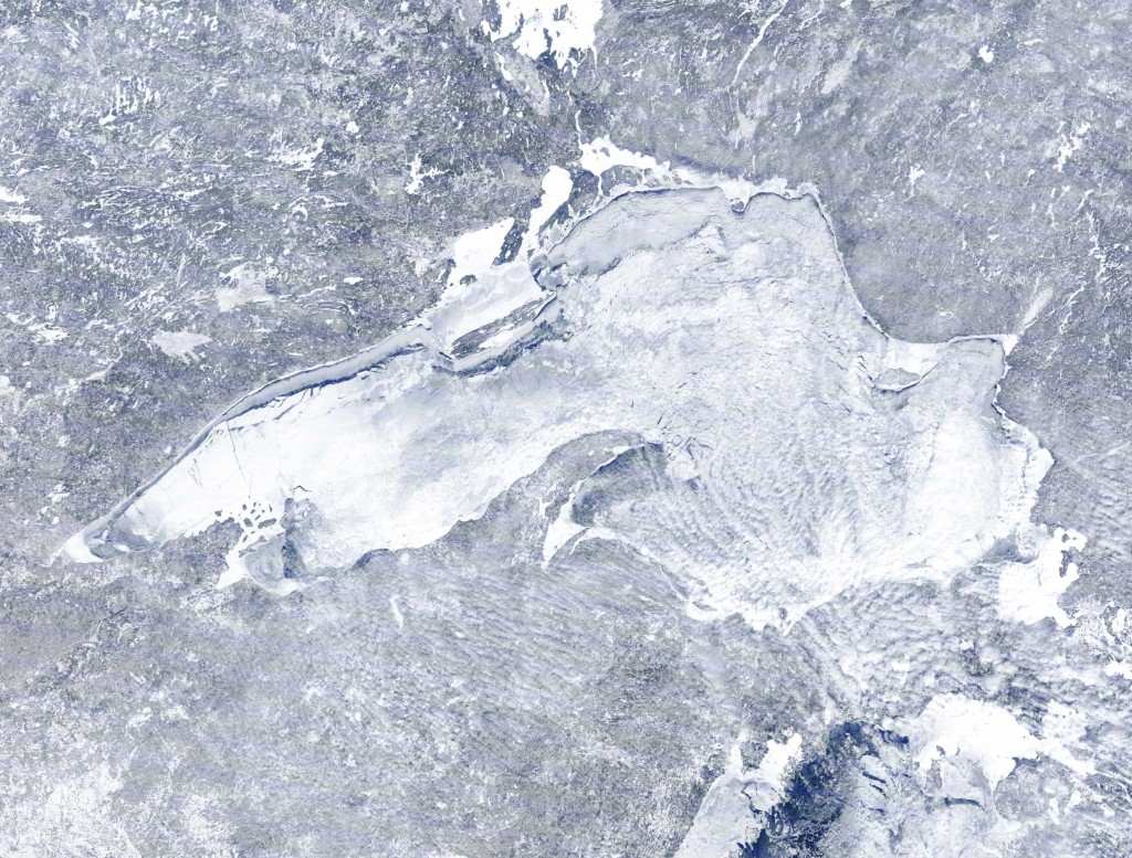 Lake Superior almost completely frozen in February 2015. Satellite image from NOAA, National Oceanic Atmospheric Administration.