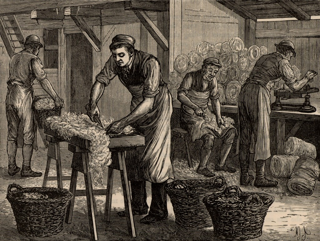 Workers sort the wool from various areas of the fleeces into separate batches. Like tanners, they were at risk of contracting Anthrax from the fleeces. From Great Industries of Great Britain, engraving  circa 1880. Photo by Universal History Archive/Getty Images