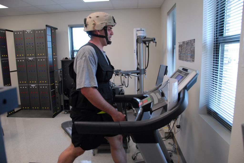 Treadmill Workout Working out in combat gear adds a layer of exertion.