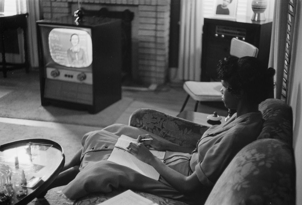 A high school student being educated via television during the period that schools in Little Rock, Arkansas, were closed to avoid integration, in this September 1958 photograph courtesy of the Library of Congress. Photo by REUTERS/Library of Congress/Handout via Reuters.