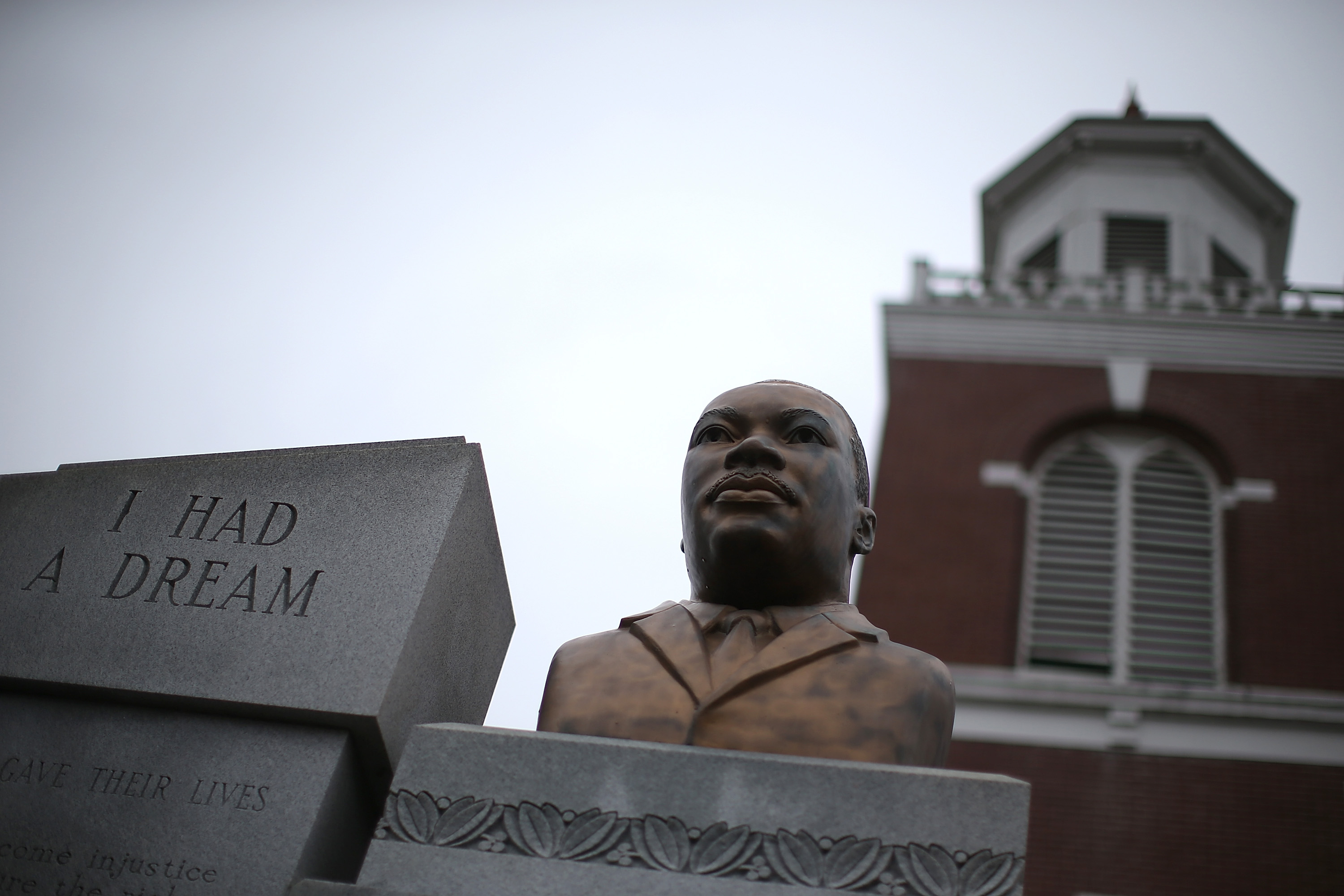 SELMA, AL - MARCH 05: A bust of Dr. Martin Luther King is displayed in front of the Brown Chapel AME Church on March 5, 2015 in Selma, Alabama. Selma is preparing to commemorate the 50th anniversary of the famed civil rights march from Selma to Montgomery that resulted in a violent confrontation with Selma police and State Troopers on the Edmund Pettus Bridge on March 7, 1965. (Photo by Justin Sullivan/Getty Images)