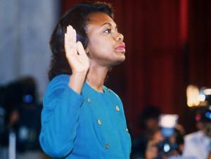 Law professor Anita Hill takes the oath before the Senate Judiciary…