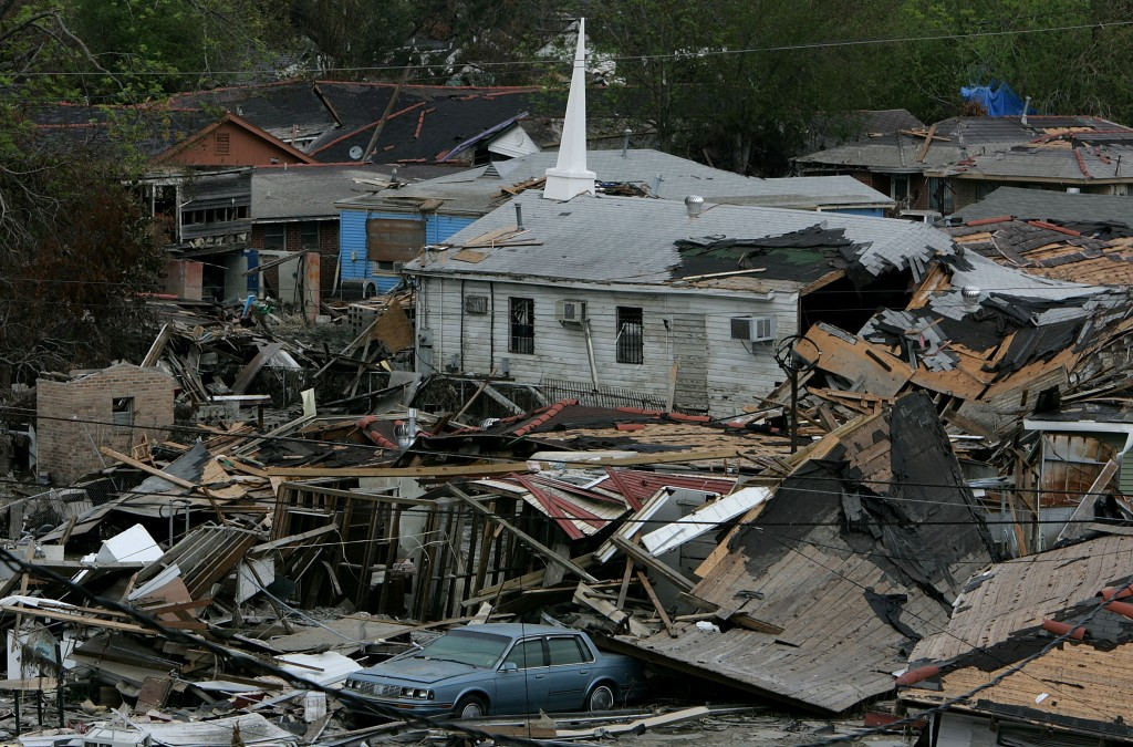 A Church Amid the Rubble A church remained standing amidst destroyed houses in the Lower Ninth Ward on September 16, 2005. (Photo by Justin Sullivan/Getty Images)