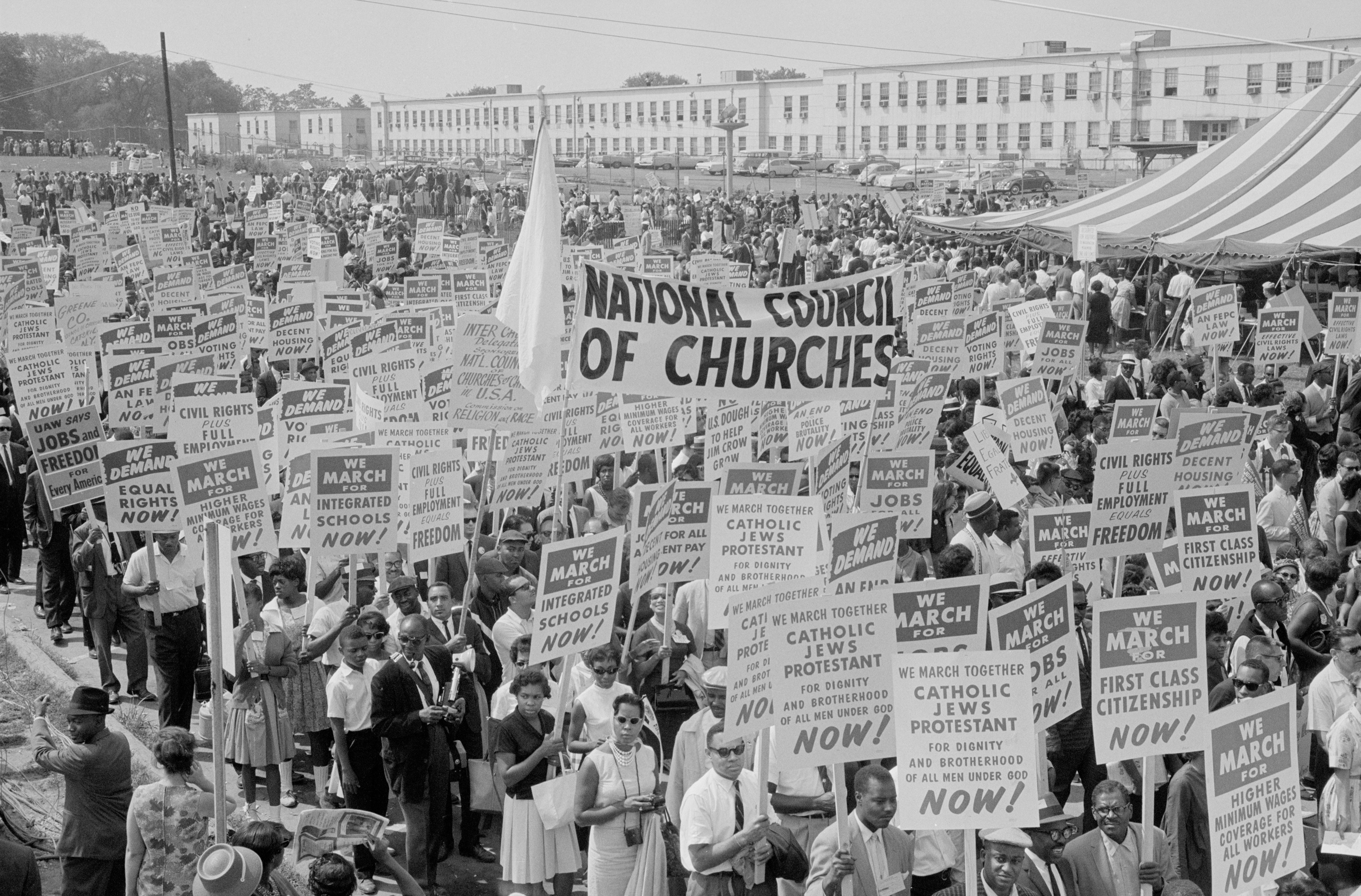 Marchers, signs, and a tent during the civil rights march on Washington D.C., in this August 28, 1963 photograph courtesy of the Library of Congress. Photo by REUTERS/Library of Congress/Handout via Reuters.