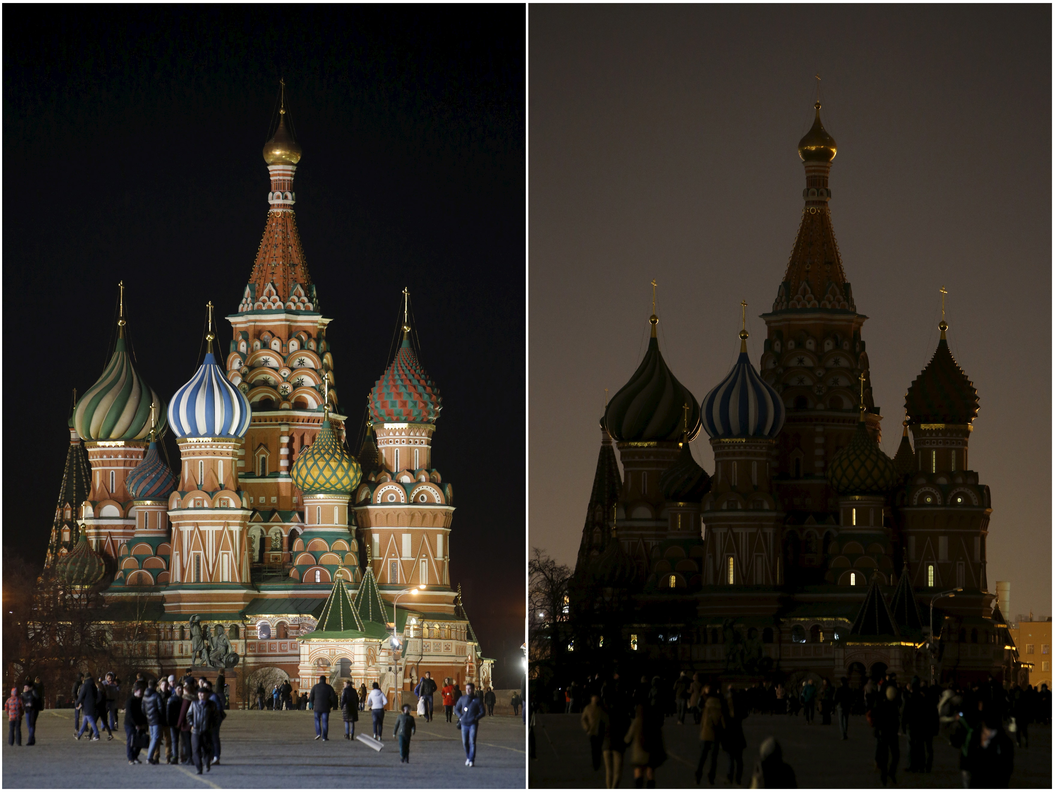 A combination picture shows St. Basil's Cathedral before (L) and during Earth Hour in Moscow March 28, 2015. Earth Hour, when everyone around the world is asked to turn off lights for an hour from 8.30 p.m. local time, is meant as a show of support for tougher action to confront climate change. REUTERS/Sergei Karpukhin