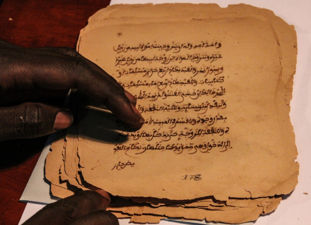 The ancient, prized manuscripts of Timbuktu, one of the largest written records of Islamic and African history from the 13th to 18th centuries, have long been housed in the libraries of Timbuktu. The collection is currently in Bamako, moved here by a team of historians who rescued the manuscripts after militants occupied Timbuktu and threatened to burn them. Photo by Molly Raskin