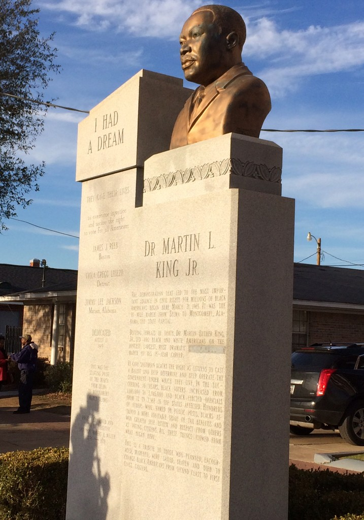 A bust of Martin Luther King Jr. sits just outside of Brown Chapel AME Church in Selma. Photo by Gwen Ifill