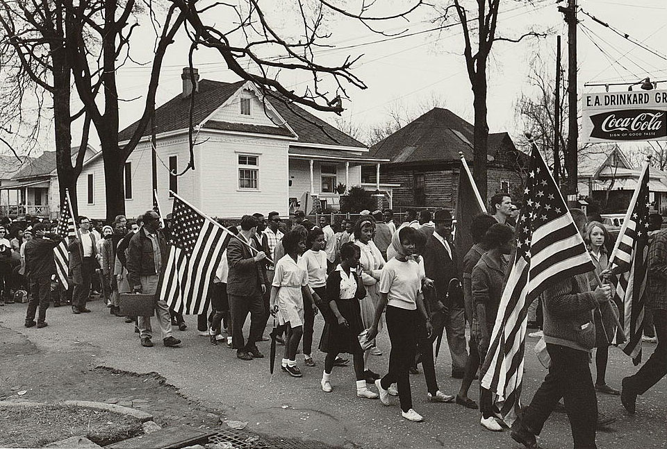 Participants marching in a civil rights march from Selma to Montgomery, Alabama, in this 1965 photograph courtesy of the Library of Congress. REUTERS/Library of Congress/Handout via Reuters - RTR4SDZ6