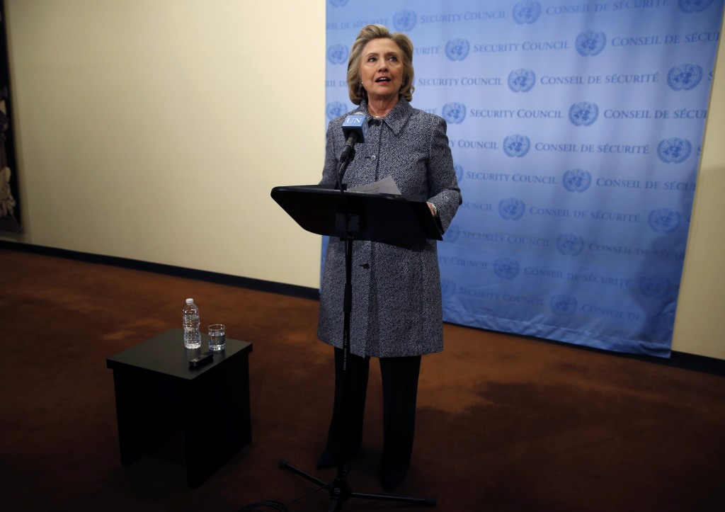 Former U.S. Secretary of State Hillary Clinton speaks during a news conference at the United Nations in New York