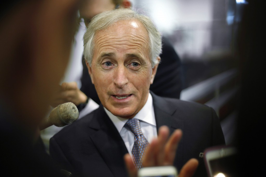 U.S. Senator Bob Corker (R-TN) talks to reporters as he arrives for the weekly Republican caucus policy luncheons at the U.S. Capitol in Washington, March 10, 2015. Corker says scrutiny and approval of any nuclear agreement with Iran is essential. Photo by Jonathan Ernst/REUTERS.